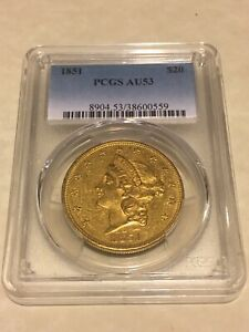 1851 AU53 PCGS LIBERTY DOUBLE EAGLE TYPE 1 $20 GOLD COIN NICE APPEAL