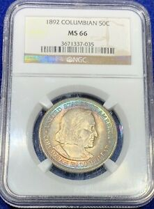 Click now to see the BUY IT NOW Price! 1892 COLUMBIAN COMMEMORATIVE HALF DOLLAR NGS MS66 GEM TONING