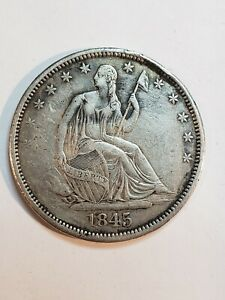 1845 O SEATED LIBERTY HALF DOLLAR HIGH GRADE 50C  MINT ERROR REPUNCHED DATE