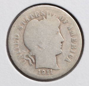 1911 D BARBER DIME AG/G  90  SILVER   ACTUAL COIN PICTURED