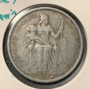 1952 FRENCH OCEANIA 5 FRANC   NICE DETAILS