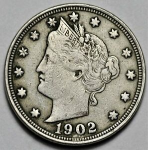 1902 LIBERTY HEAD NICKEL  >> US 5C COIN << FLAT RATE SHIPPING   LOT 1020
