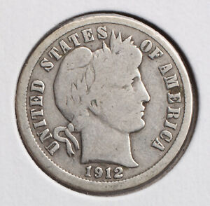 1912 P BARBER DIME VG  90  SILVER   ACTUAL COIN PICTURED
