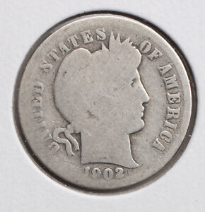 1902 P BARBER DIME G  90  SILVER   ACTUAL COIN PICTURED