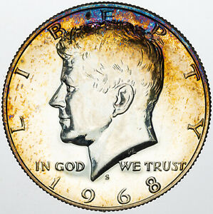 1968 S KENNEDY HALF DOLLAR SILVER PROOF NEON COLOR TONING UNC BU SELECT  MR