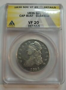 1836 CAPPED BUST HALF DOLLAR 50C  ANACS VF 20  BEAUT COLOR  UNDERGRADED?