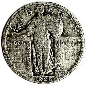1925 UNITED STATES SILVER STANDING LIBERTY QUARTER   VG