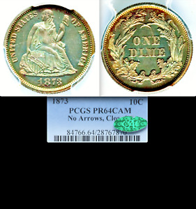 1873 PCGS PR64 CAMEO CAC $1 175 APR THIS SLAB GORGEOUS PROOF SEATED DIME KEY 10C