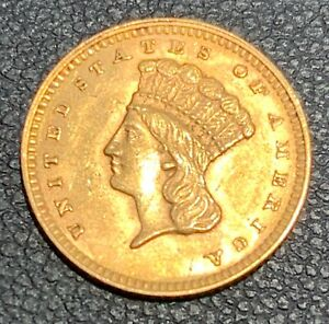 1862 UNITED STATES INDIAN PRINCESS LARGE HEAD $1 GOLD TYPE III
