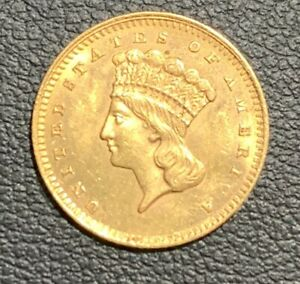 1862 INDIAN PRINCESS LARGE HEAD UNITED STATES $1 GOLD TYPE III