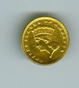 U.S. $1 INDIAN PRINCESS HEAD GOLD BUTTON  ABOUT XF DEATILS CLEANED EX JEWERLY