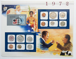 Click now to see the BUY IT NOW Price! 1972 P&D U.S MINT SET NIXON VISITS CHINA CARDED MS BU MULTI COLOR TONED COINS