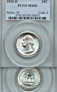 Click now to see the BUY IT NOW Price! 1932 D PCGS MS65 KEY TO THE WASHING QUARTER SET  JUST FIVE FINER  25C BEAUTY