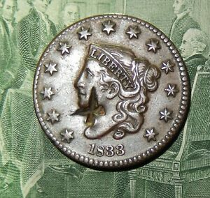 REAL NICE  1833  LARGE CENT  COUNTER STAMPED   ON  THE OBVERSE
