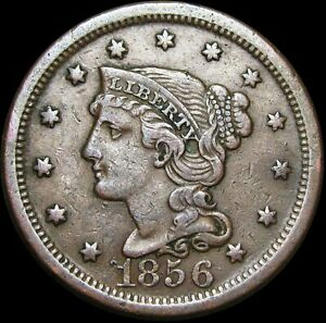 1856 BRAIDED HAIR LARGE CENT PENNY      NICE DETAILS TYPE COIN      H408
