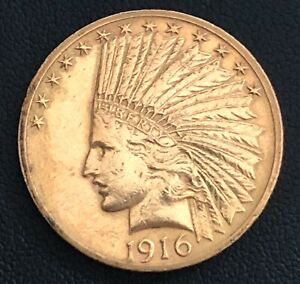 1916 S INDIAN HEAD $10 GOLD EAGLE