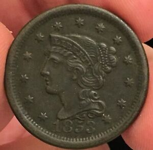 1853 LARGE CENT BRAIDED HAIR. DARK COIN BUT LOOKS AU DETAILS TO ME