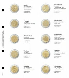 LINDNER 1118 7 LEAVES INDIVIDUAL FOR COINS COMMEMORATIVE OF 2 EUR