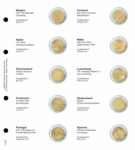 LINDNER 1118 9 LEAVES INDIVIDUAL FOR COINS COMMEMORATIVE OF 2 EUR
