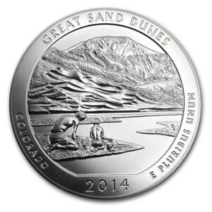 2014 5 OZ AMERICA THE BEAUTIFUL SILVER COIN ATB GREAT SAND DUNES CO