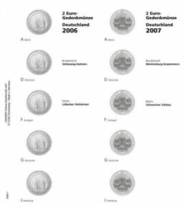 LINDNER 1505 1 LEAVES INDIVIDUAL FOR COINS COMMEMORATIVE OF 2 EUR STATES