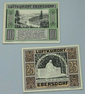 COLLECTION BANKNOTES NOTGELD GERMANY EBERSDORF 2PC ALB33 016 YY