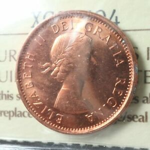 1 CENT 1962 HANGING 2 CANADA ICCS MS 63 RED ONE PENNY QUEEN ELIZABETH II C