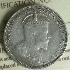 25 CENTS 1906 LC ICCS VF 30 CANADA KING EDWARD VII C  SILVER QUARTER