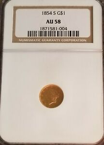 1854 S GOLD $1 DOLLAR INDIAN PRINCESS NGC AU58 KEY DATE COIN