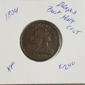 1804 HALF CENT DRAPED BUST XF UNCERTIFIED