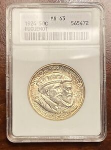 1924 HUGUENOT COMMEMORATIVE HALF DOLLAR OLD ANACS MS 63    ORIGINAL COIN