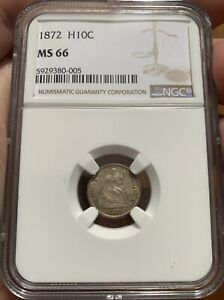 HALF DIME 1872 MS66     ONLY 4 ABOVE
