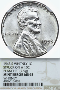 Click now to see the BUY IT NOW Price! 1943 S NGC MS63 CENT ON SILVER DIME $15 275 APR FOR XF40  LINCOLN WHEAT STEEL 1C