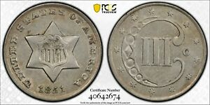 SUPER LOOKING 1851 O 3 CENT SILVER