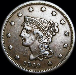1840 ERROR BRAIDED HAIR LARGE CENT TYPE PENNY REPUNCHED DATE    NICE       V364