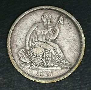 1837 SEATED LIBERTY DIME VF/XF NO STARS 10 USA 1837 P