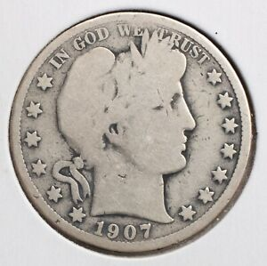 1907 D 50C BARBER HALF DOLLAR G  90  SILVER   ACTUAL COIN PICTURED
