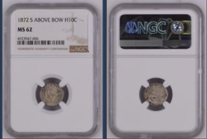 1872 S ABOVE BOW SEATED LIBERTY HALF DIME >NGC MS 62< GREAT TONING>FAST SHIPPING