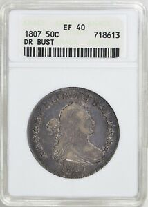 1807 DRAPED BUST HALF DOLLAR >ANACS XF40< PRETTY COIN > FAST SHIPPING