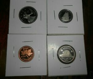 LOT OF 4 CANADA PROOF 1981 COINS 1 CENT 10 CENTS 5 CENTS 25 CENTS COINS  FREE SH