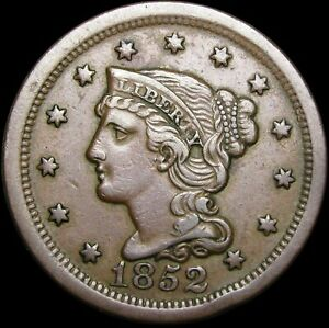 1/1852 BRAIDED HAIR LARGE CENT PENNY N 14      ERROR TYPE COIN          K692