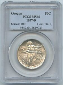 1937 D OREGON COMMEMORATIVE HALF DOLLAR PCGS MS64