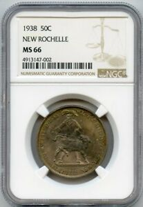 1938 50C NEW ROCHELLE COMMEMORATIVE NGC MS 66 BEAUTIFUL COLOR