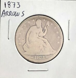 1873 SILVER SEATED LIBERTY HALF DOLLAR WITH ARROWS