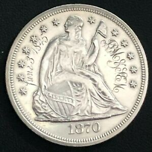 1870 SILVER SEATED LIBERTY DOLLAR ENGRAVED LOVE TOKEN