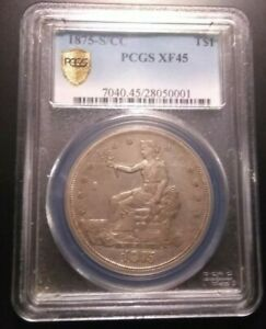 1875 S/CC TRADE DOLLAR >PCGS XF45<  >SUPER FAST SHIPPING