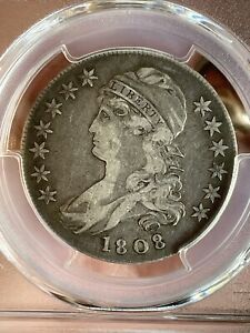 1808 50C CAPPED BUST SILVER HALF DOLLAR PCGS VF25;