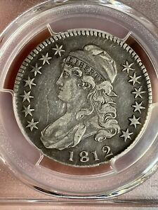 1812 50C CAPPED BUST SILVER HALF DOLLAR PCGS VF DETAIL SCRATCH; MINOR SCRATCH