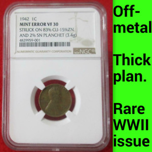 Click now to see the BUY IT NOW Price! 1942 NGC VF30 OFF METAL THICK PLANCHET WWII 1C PATTERN?   LINCOLN WHEAT CENT