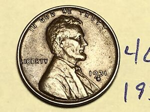 1931 D LINCOLN WHEAT ONE CENT PENNY COIN 4662K